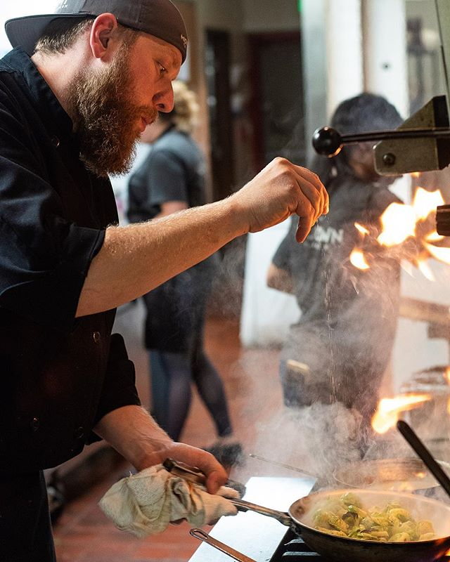 Our head Chef and part owner @masonlzeglen playin with 🔥. We've got some exciting news coming your way with this guy, so stay tuned! #mttavern #futurestar