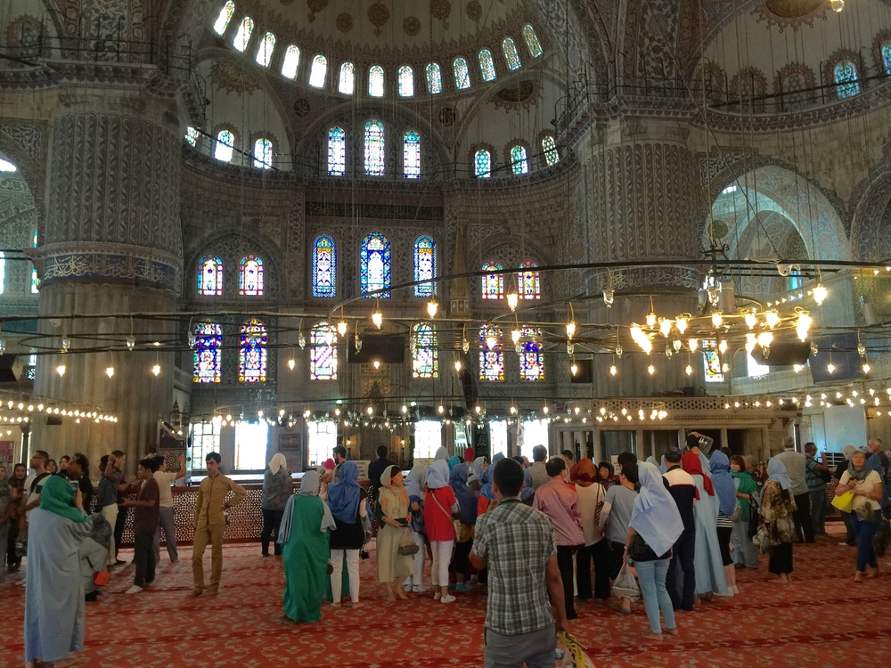 Tourists in awe of Blue Mosque's beauty
