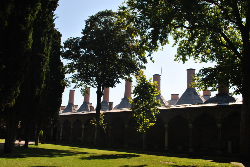 The elongated palace kitchens with two rows of 20 wide chimneys