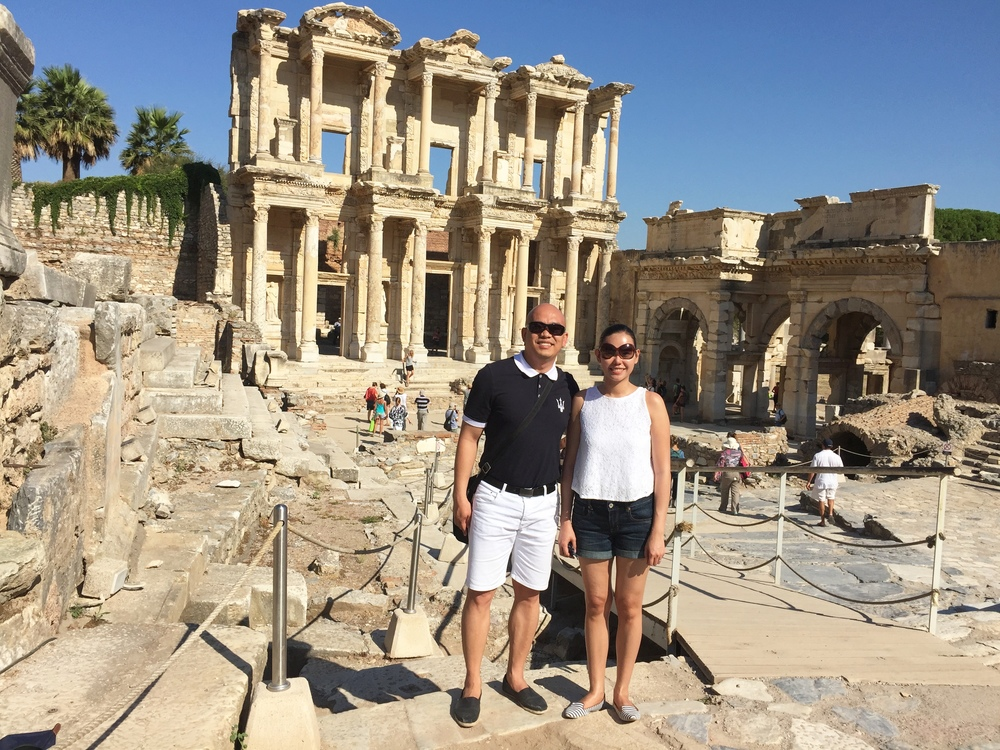THE HAPPY TRAVELLERS at The Library of Celsus in Ephesus