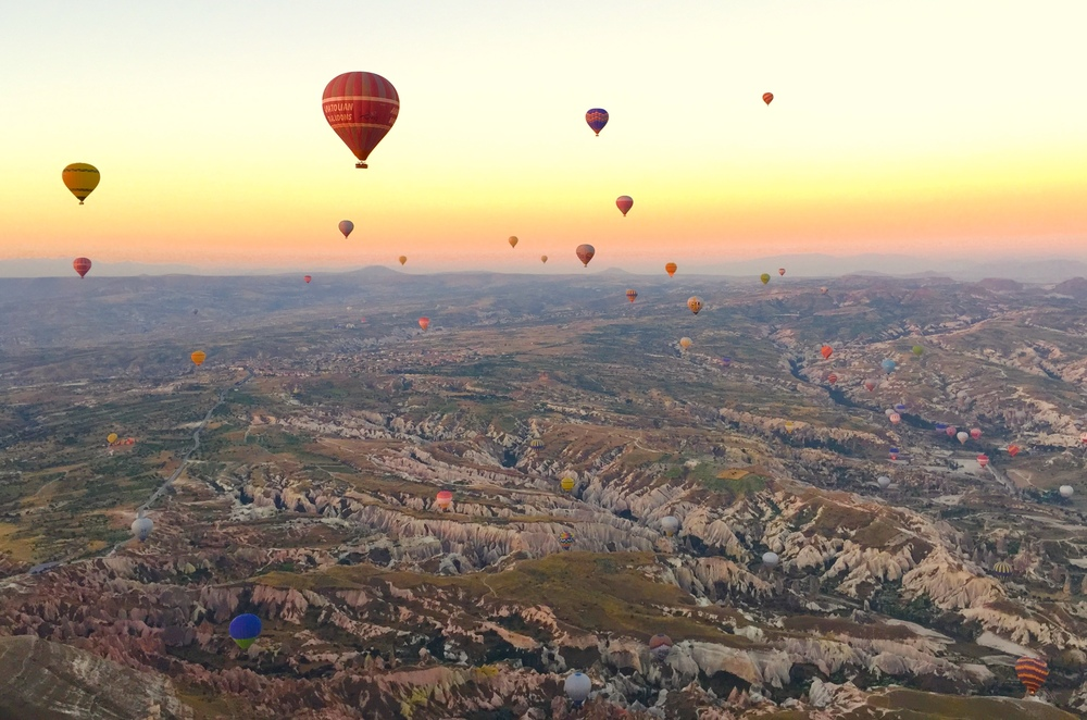 More than 60 colorful hot air balloons up in the sky