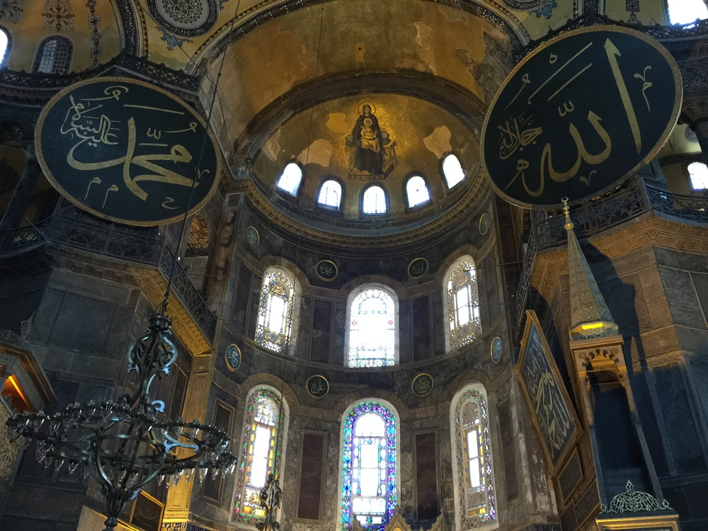 Artistic meeting of Christianity and Islam in Hagia Sophia.