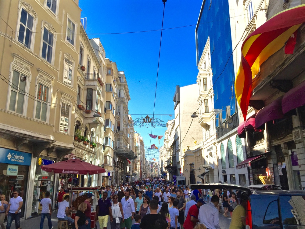 Crowd of tourists in Turkey's busiest street