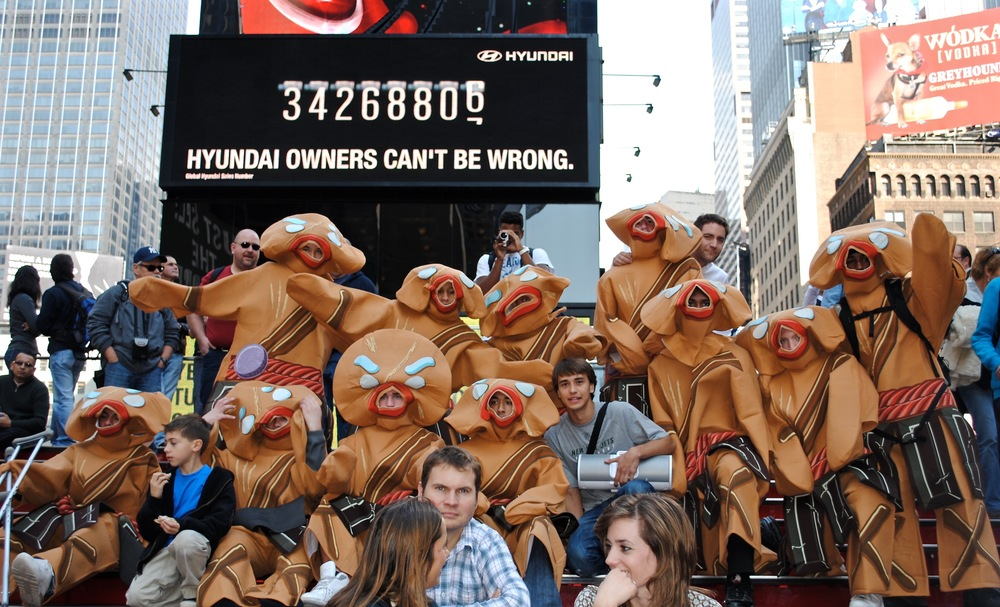 Lion King performers taking a breather at Times Square
