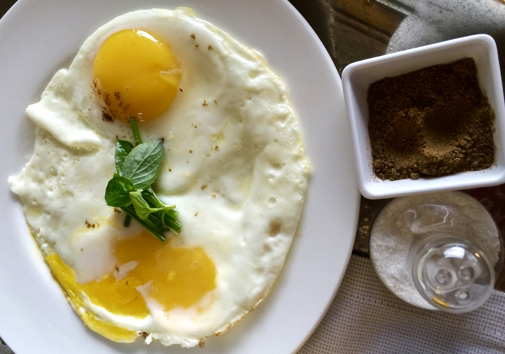 We sprinkled our sunny side up with salt and cumin - the Moroccan way.