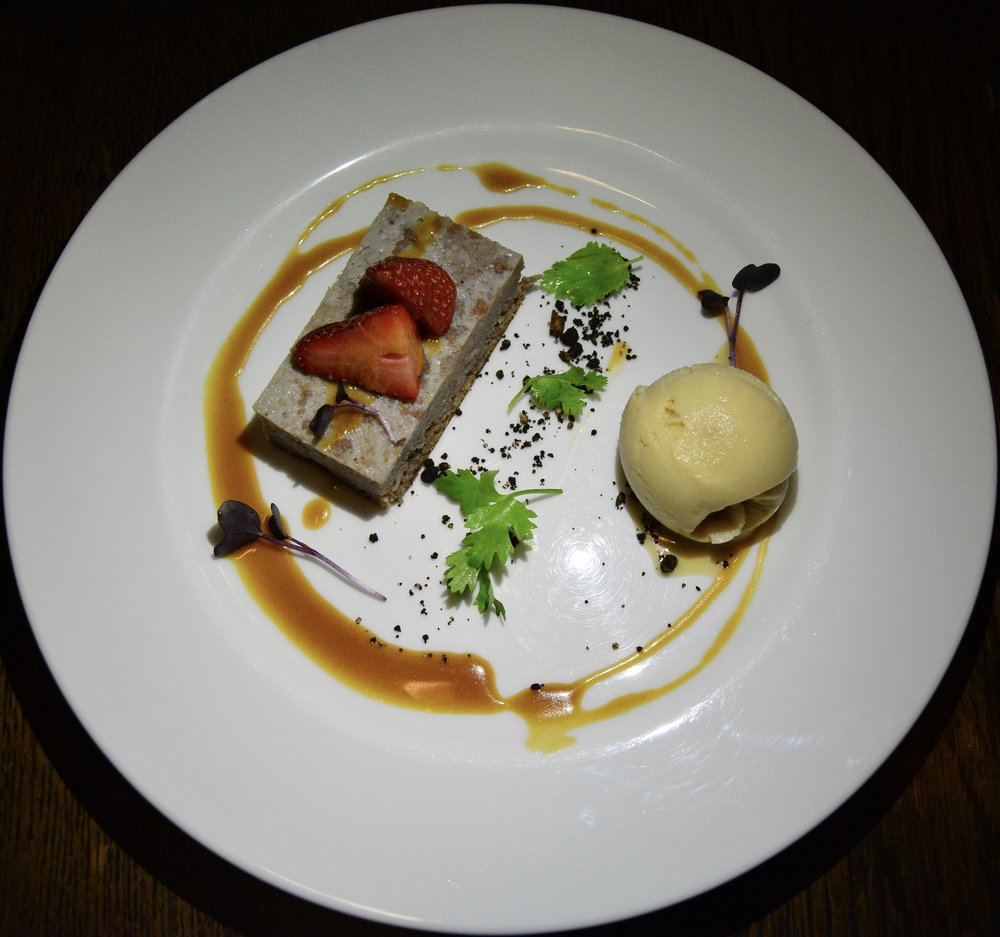 Chestnut cake with salted caramel, strawberry and caramelized milk ice cream (Alila Jabal Akhdar)