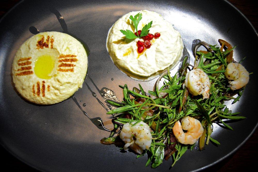 Hummus, prawn salad, zucchini moutabel  (Alila Jabal Akhdar)