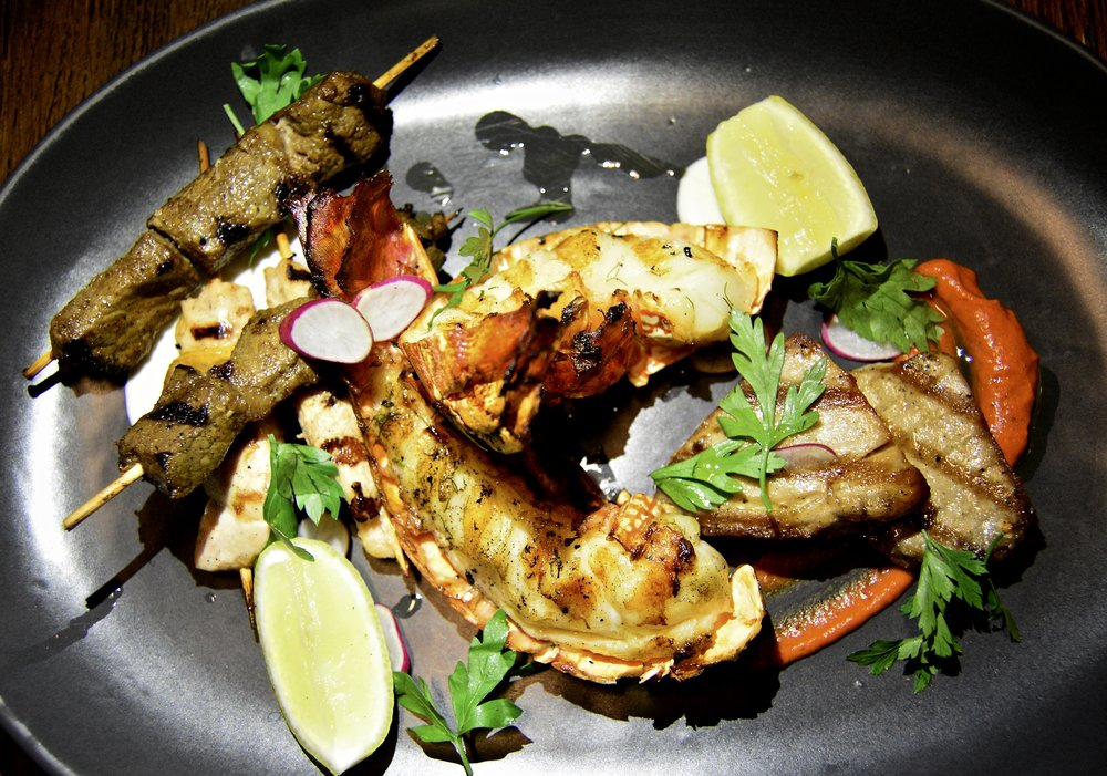 Lobster, sherry fish, beef kebab, shish tawook  (Alila Jabal Akhdar)