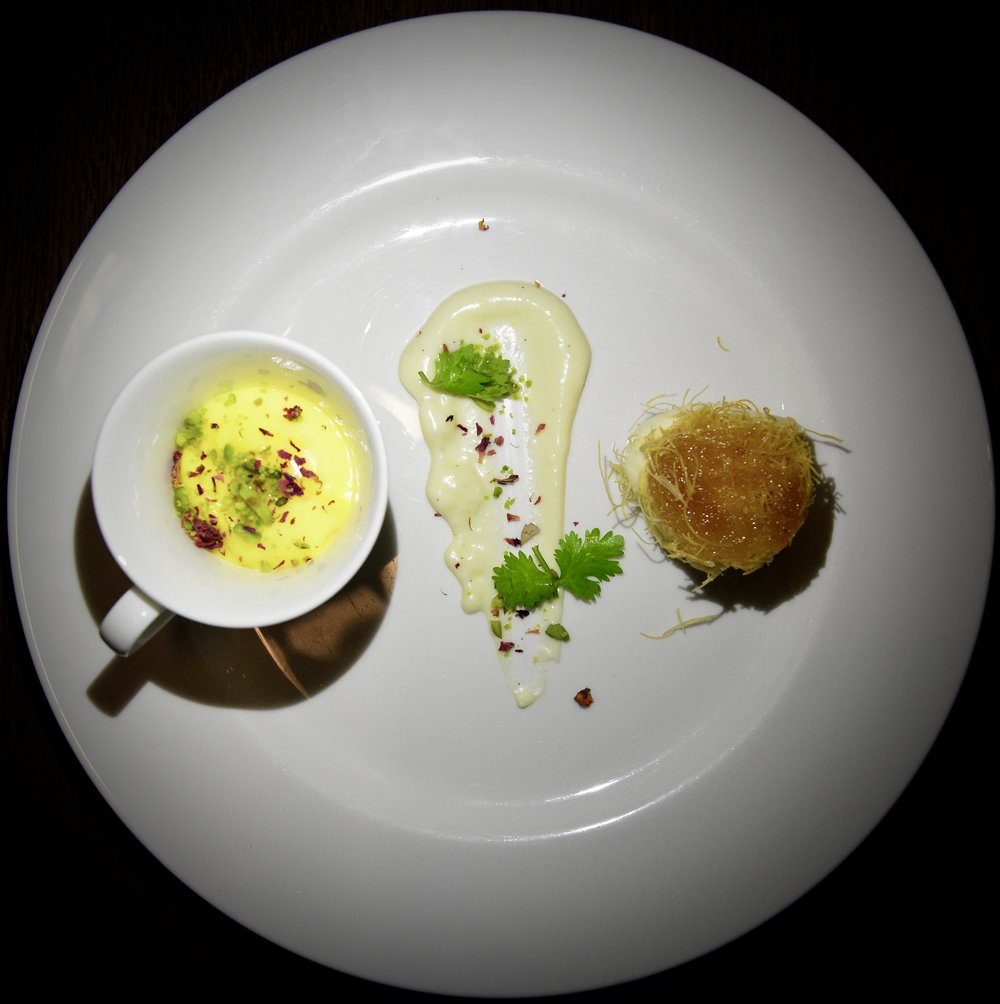 Kunafeh with mascarpone, feta, mozzarella and honey saffron mahalabia with pistachio  (Alila Jabal Akhdar)