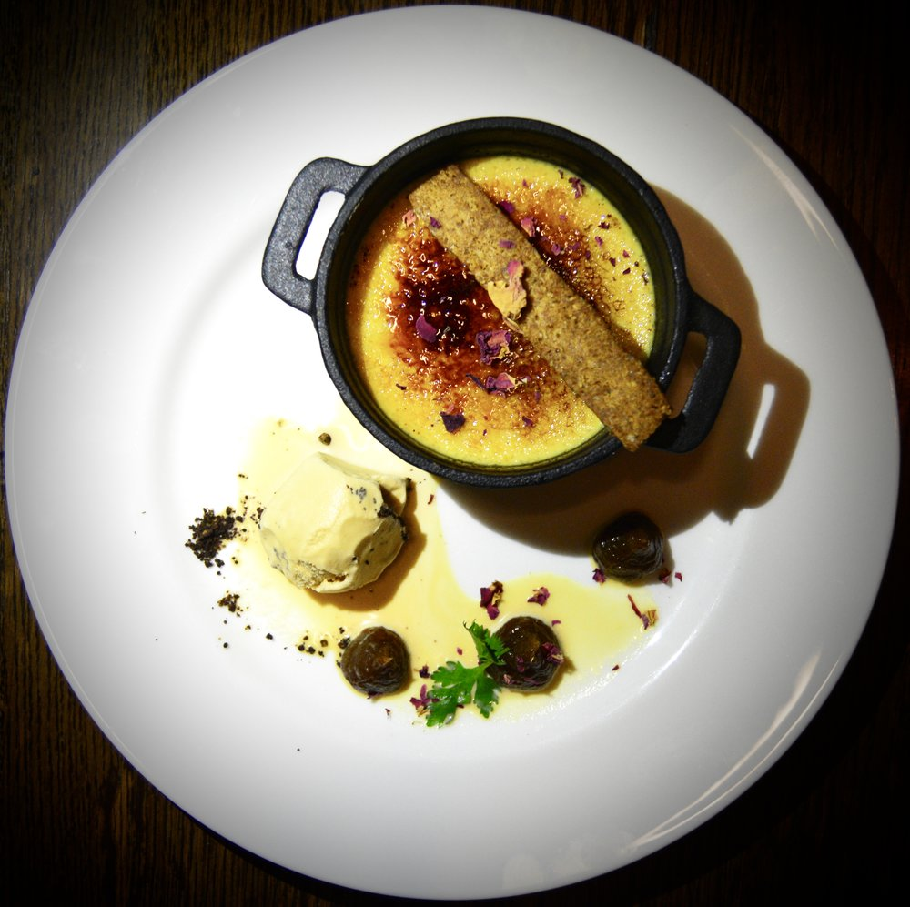 Date brulee with burnt honey ice cream and almond biscuit  (Alila Jabal Akhdar)