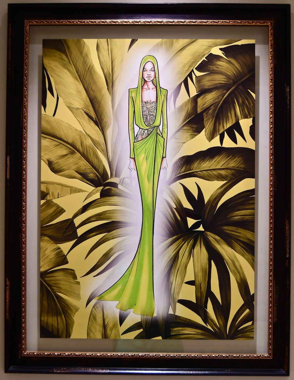 Hallway Decor - Framed Versace Sketch (Palazzo Versace Dubai)