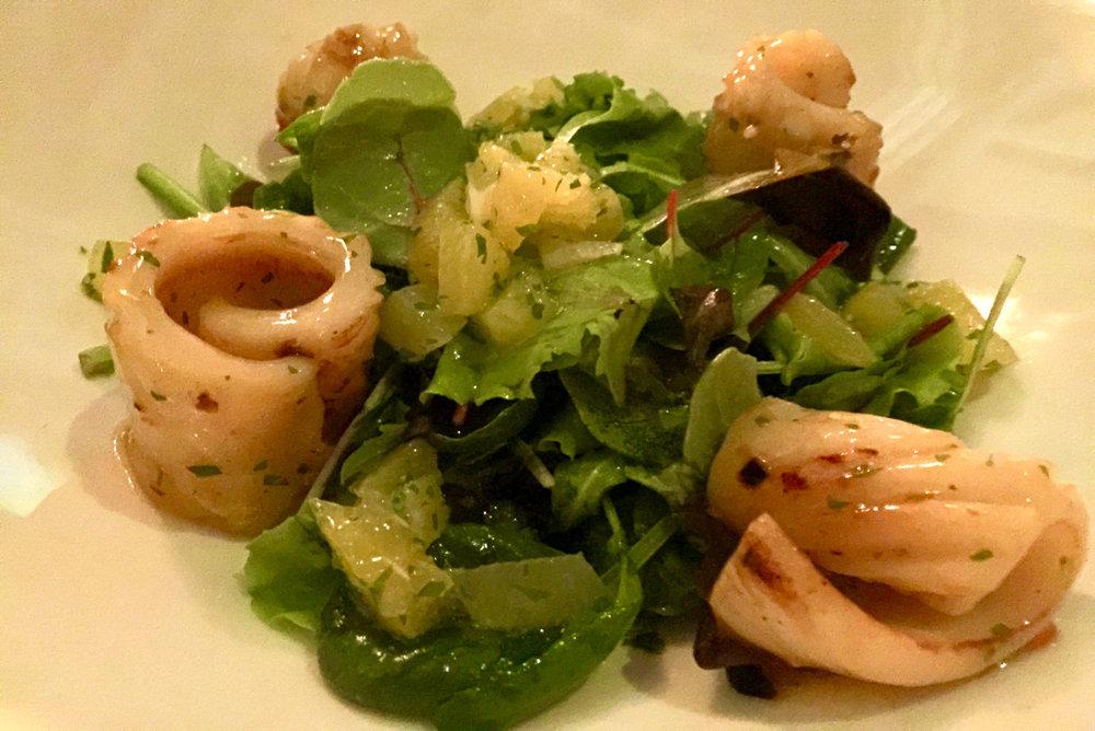Citrus Salad with Grilled Squid