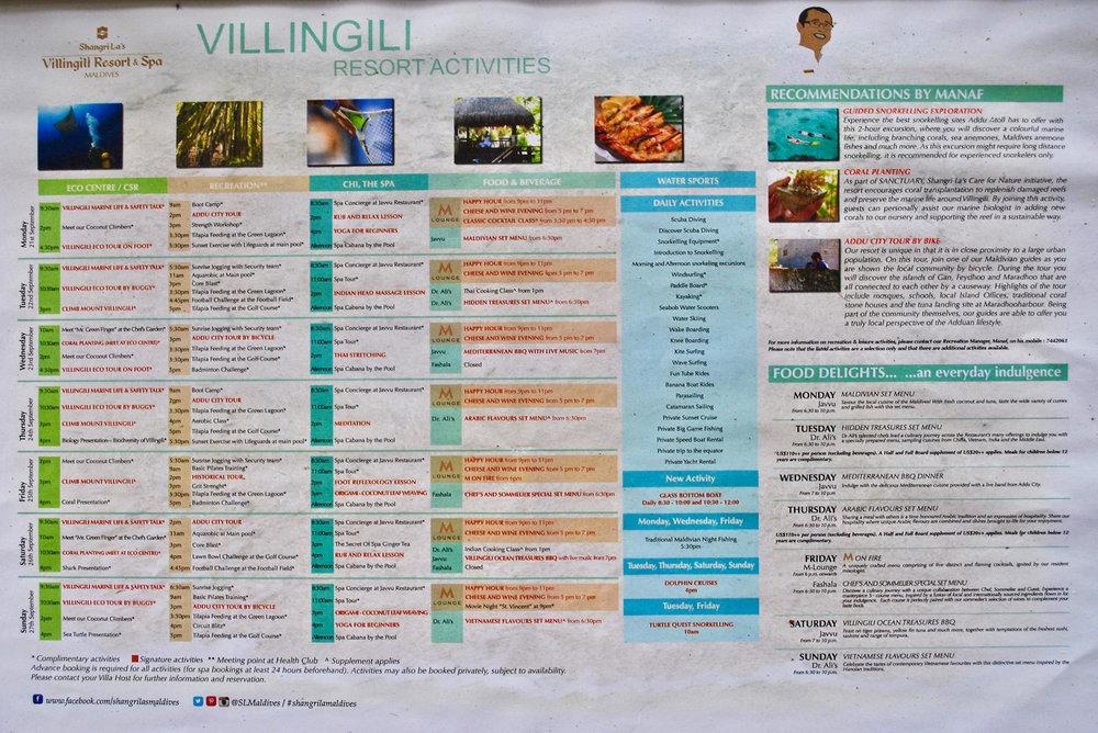 Resort Activities (Shangri-La Maldives)
