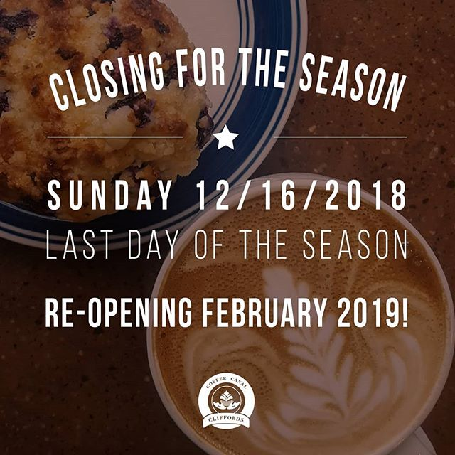 Hi friends! ☕  This weekend is our last weekend until we re-open in February. We hope to see you before we close for the season.  We wish you all a fantastic holiday season with your loved ones. Safe travels and happy holidays!  We can't wait to see you all again in February!