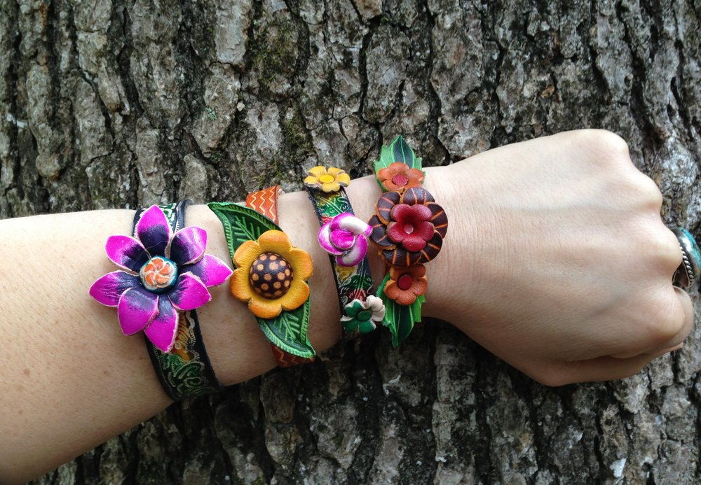 Painted leather bracelets