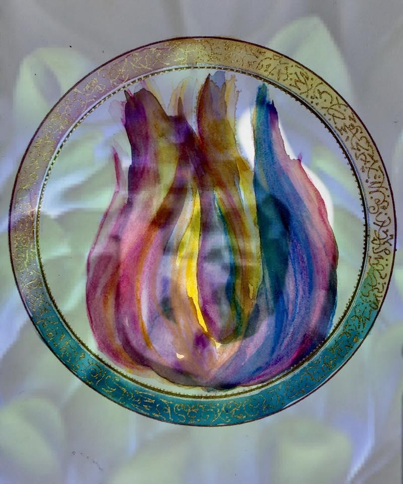 Three Fold Flame original sacred artwork for your daily morning meditation.