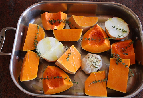 Butternut squash ready for roasting