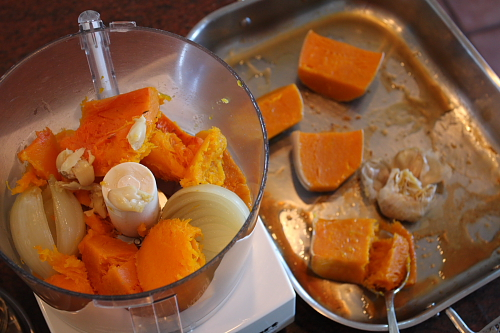 Process step of Roasted butternut soup