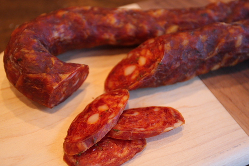 Salsiccia calabrese (Cured Calabrian sausage)