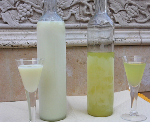 Crema di limoncello and limoncello