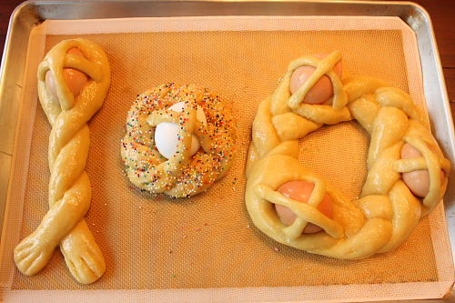 Easter breads before baking