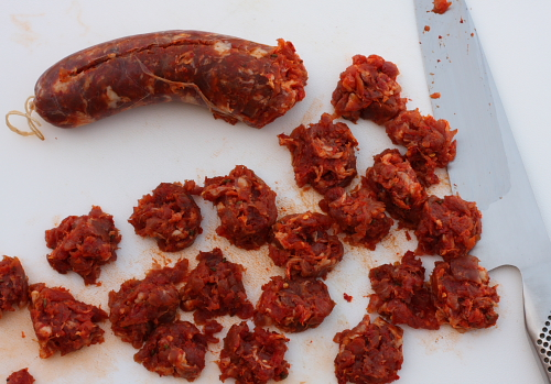 Fresh Calabrian sausage cut in chunks