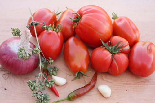 Ingredients for tomato salad