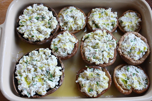 Stuffed mushrooms before baking