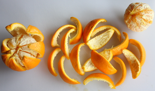 Cut orange peels