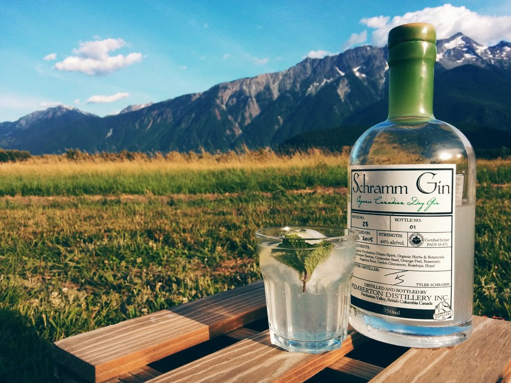 Schramm G&T under Pemberton's Mt Currie