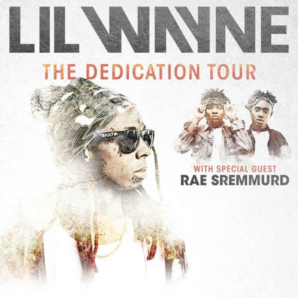 Lil Wayne   announces The Dedication Tour with Special guests   Rae Sremmurd  . The 19-city tour, kicks off on January 21 in El Paso, Texas.       Jan 21 — El Paso, TX @ El Paso County Coliseum   Jan 23 — Hidalgo, TX @ Statefarm Arena   Jan 24 — Corpus Christi, TX @ AmericanBank Center   Jan 28 — Southaven, MS @ Landers Center   Jan 29 — Lafayette, LA @ Cajundome   Jan 31 — Bossier City, LA @ CenturyLink Center   Feb 3 — Fayetteville, NC @ Crown Coliseum   Feb 4 — Richmond, VA @ Richmond Coliseum   Feb 5 — Wallingford, CT @ Toyota Presents Oakdale Theatre   Feb 18 — Grand Rapids, MI @ Van Andel Arena   Feb 20 — Rochester, NY @ Blue Cross Arena   Feb 23 — Bethlehem, PA @ Sands Bethlehem Event Center   Feb 25 — Toledo, OH @ Huntington Center   Feb 26 — Dayton, OH @ Wright State University Nutter Center   Feb 27 — State College, PA @ Bryce Jordan Center   Feb 28 — Youngstown, OH @ The Covelli Centre   Mar 1 — Sioux Falls, SD @ Denny Sanford PREMIER Center   Mar 3 — Bloomington, IN @ Assembly Hall   Mar 6 — Lincoln, NE @ Pinnacle Bank Arena
