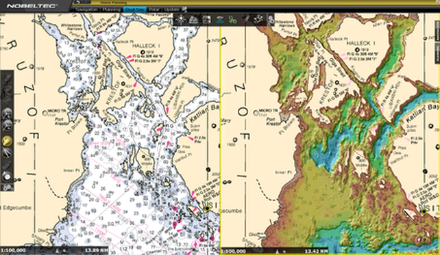 On the left is a standard NOA chart, on the right is an ALFA Bathy chart with the colors indicating seafloor bathymetry.