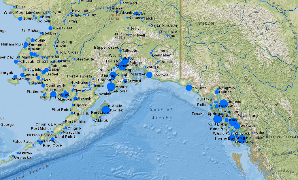 Interactive Map Of Alaska.Interactive Map Fishing Communities Throughout Alaska Alaska