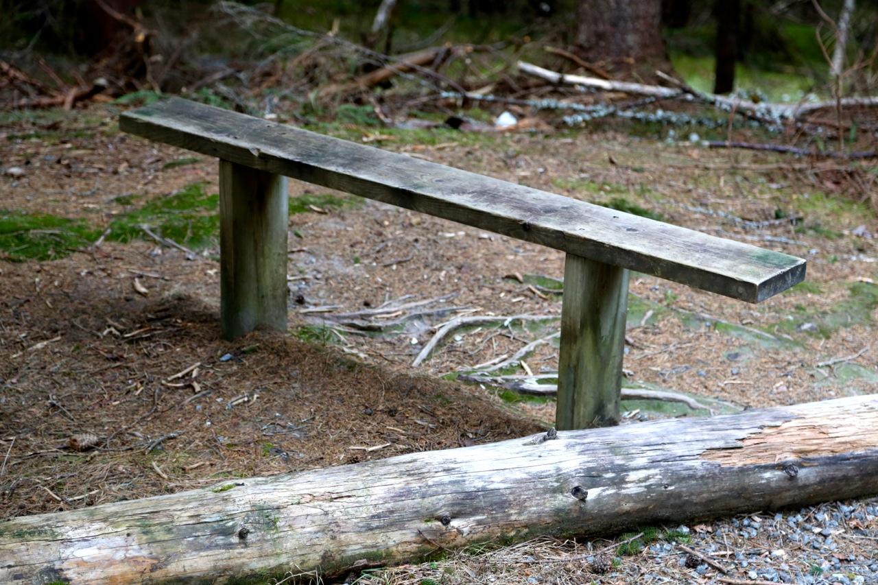 Turen startet med denne benken. Det ble veldig mange flere underveis...