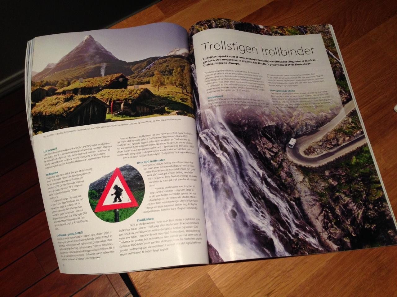 Trollstigen - slik det ser ut i magasin, men ikke i virkeligheten (th)
