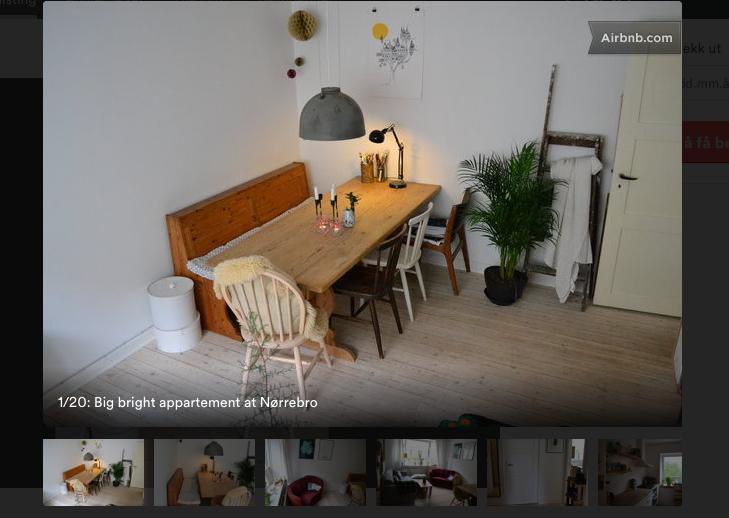 Her, i denne leiligheten på Nørrebro, skal jeg bo den kommende uke. Billigere og sikkert like bra som hotell. Skjermdump