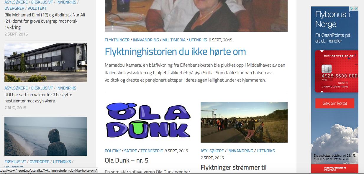 Skjermdump - med Norwegianannonsen.
