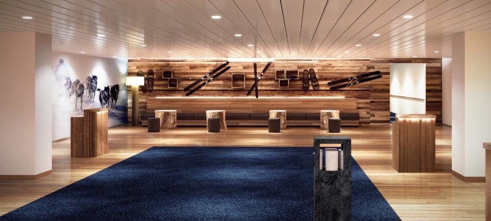 Portal til unike opplevelser. Naturlige materialer og dramatisk lyssetting, drivved-detaljer i møbler og belysning. Solide materialer som tre, lær og skifer. En dyp marineblå farge spiller sammen med naturfarger i brunt og grått.