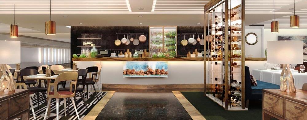 Et alternativ til hovedrestauranten, i a la carte-stil. I midten er det et åpent kjøkken. Møblene er en blanding av sofaer og stoler med høy eller lav rygg. Dyp blå, burgunder og mørk grønn sammen med naturlig tre og stein. Interiøret og dekoren gjenspeiler landskapet under vann.