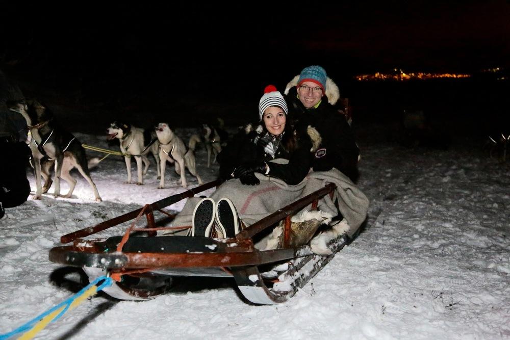 Klare for hundesledetur ved Villmarksleiren i Tromsø.                  Foto: Thetravelinspector.no