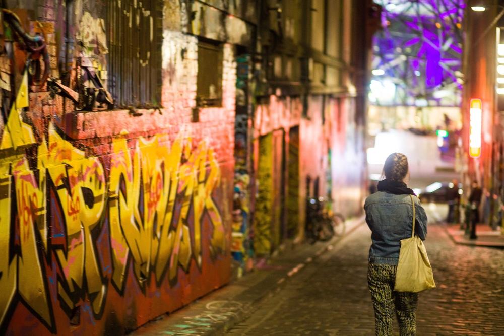 Melbourne er kjent for å ha mye gatekunst!