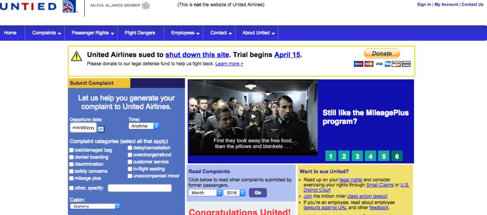 Slik ser Jeremys nettside ut - temmelig lik originalsiden til selskapet han misliker. Skjermdump.