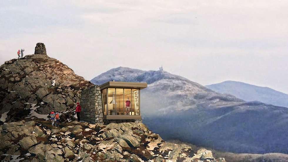 Slik kan den nye paviljongen, Molde PanoramA Lounge, over Molde bli seende ut.Illustrasjoner: Bjarne Josefsen, Kosbergs Arkitektkontor