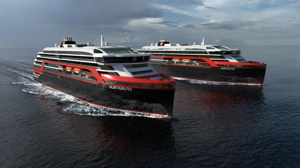 Slik blie de nye ekspedisjonsskipene til Hurtigruten. Illustrasjon: Hurtigruten/Rolls Royce / NTB Scanpix