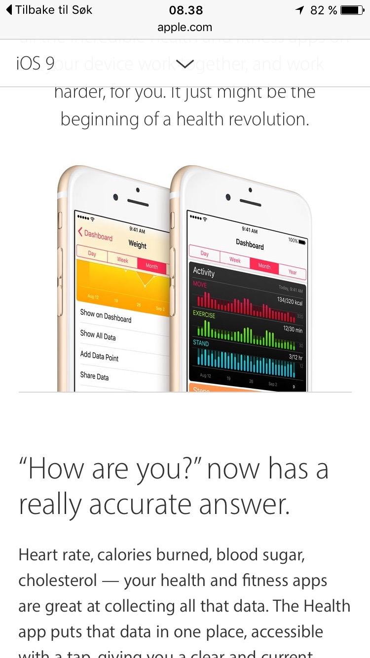 Appen brukes også i forbindelse med trening og aktivitet.              Skjermdump.