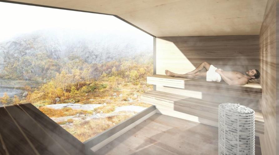 Badstu i slike omgivelser ville vært av det spektakulære slaget. Alle illustrasjoner: Koko Arkitekter.