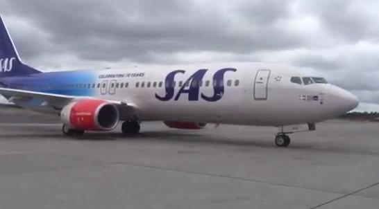 Det nye jubileumsflyet til SAS ser slik ut.         Foto: Knut Morten Johansen/SAS