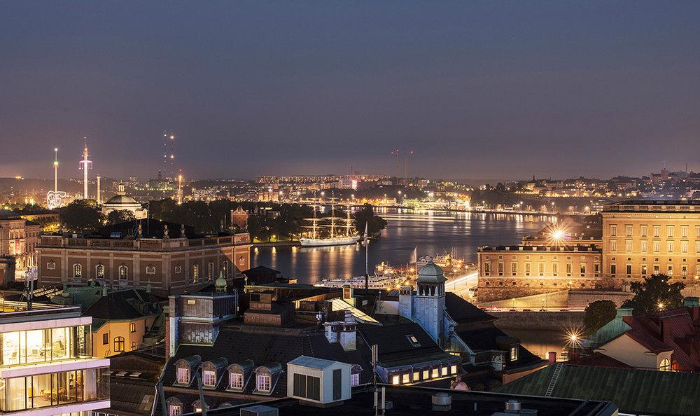 Utsikt over Stockholm - fra taket av Hotel At Six.    Foto: Hotel At Six