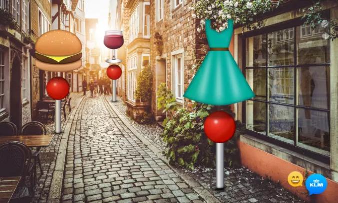 Er du på reise og ser etter nærmeste klesforretning eller restaurant? Bare plott inn en emoji i KLMs messenger-tjeneste og bli guidet i riktig retning.