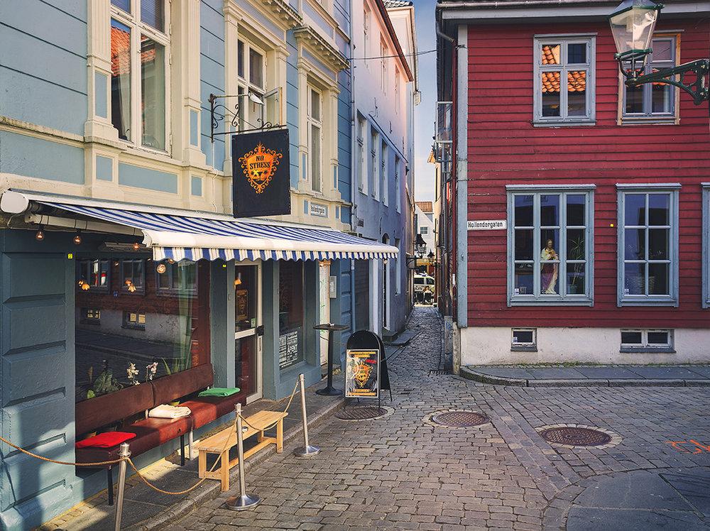 Her er No Stress i Bergen. Du finner den i Hollendergaten 11 i sentrum. Foto: No Stress